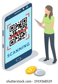 Businesswoman scanning qr code via mobile phone scanner device isometric vector illustration, future recognition technology, information data barcode isolated on white background. QR code verification