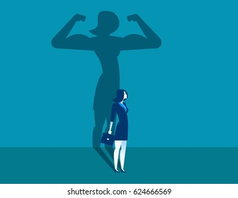 Businesswoman with a shadow and career strength. Concept business illustration. Vector character and abstract.