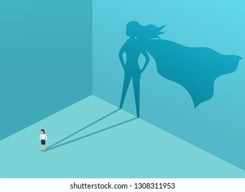 Geschäftsfrau mit Schattensuperheld. Supermanager-Führer im Geschäftsleben. Erfolgskonzept, Führungsqualität, Vertrauen, Emanzipation. Vektorgrafik