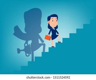 Businesswoman and shadows. Flat business cartoon vector illustration