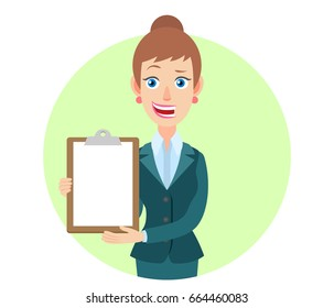 Businesswoman showing clipboard. Portrait of Cartoon Businesswoman Character. Vector illustration in a flat style.