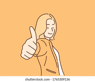 Businesswoman showing thumbs up sign. Hand drawn style vector design illustrations.