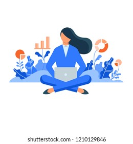 Businesswoman sitting with laptop surrounded by plants with graphs. Concept for growing business, investment, getting profit, analytics. Flat style vector illustration isolated on white