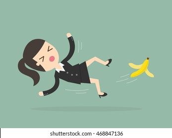 Businesswoman slipping on a banana peel. Business concept illustration.