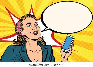 Businesswoman with smartphone in hand pop art retro vector. Successful girl. Retro business people