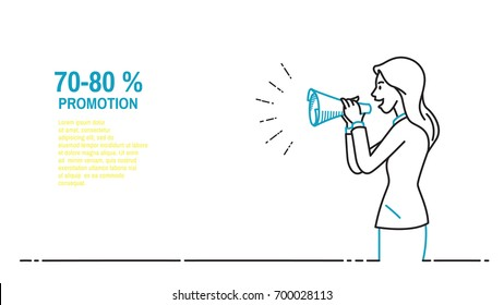Businesswoman speaking with paper megaphone, announcement, warning, note, notification, promotion, advertisement, communication concept. Outline, thin line art, hand drawn sketch design, simple style.