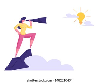 Businesswoman Stand on Top of Mountain Watching to Spyglass on Shining Light Bulb in Sky. Business Vision, Recruitment Employee, Business Character Visionary Forecast. Cartoon Flat Vector Illustration