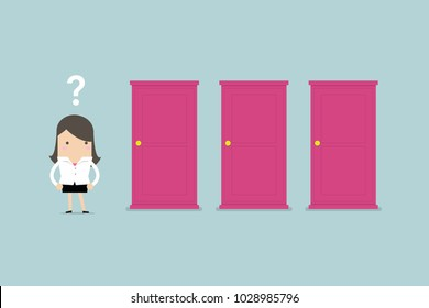 Businesswoman standing beside three doors, unable to make the right decision concept with question marks above her head