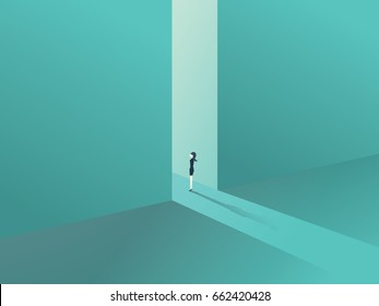 Businesswoman standing in a gate as a symbol of business opportunities, challenge, vision and future. Eps10 vector illustration.