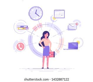 ビジネスマンが立ち、オフィスアイコンの付いたブリーフケースを背景に持っている。マルチタスクと時間管理のコンセプト。 効果的な管理。ベクターイラスト。