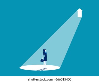 Businesswoman standing in light. Concept business vector illustration.