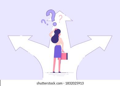 Geschäftsfrau, die an einem Kreuz steht und Richtung wählt. Geschäftskonzept. Moderne Vektorgrafik.