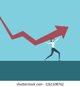 businesswoman standing on graph. Income and profit - Image Symbol of sucess, challenge, growth