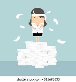 Businesswoman standing on paperwork vector