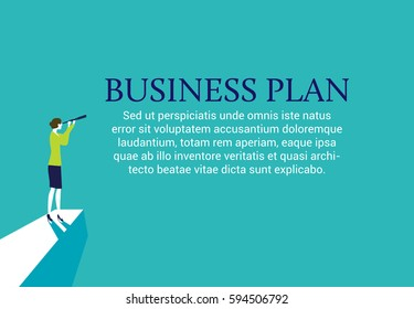 Businesswoman standing on top of a mountain with a spyglass looking for a business plan. Web page layout