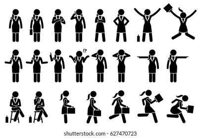 Businesswoman Standing, Walking, Running and Sitting Poses and Postures. Artworks depict various business woman actions such as jump, using phone, pointing, thinking, talking, walk, and run.