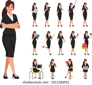 Businesswoman in suit clothes with job routine character pose.