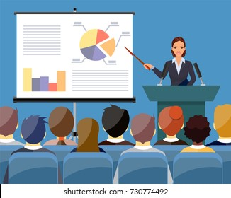 Businesswoman in suit and tie making presentation explaining charts on a white board. Business seminar. Flat style vector illustration