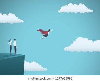 Businesswoman as a superhero flying in the sky. Symbol of woman power, leadership, inspiration, emancipation and success. Eps10 vector illustration.