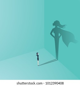 Businesswoman with superhero shadow vector concept. Business symbol of emancipation, ambition, success, motivation, leadership, courage and challenge. Eps10 vector illustration.