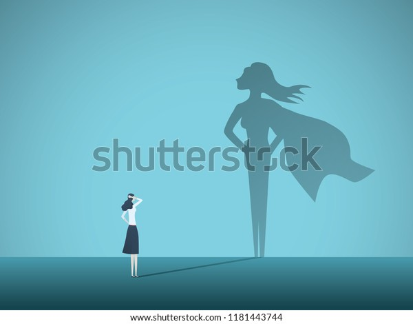Businesswoman with superhero shadow vector concept. Business symbol of emancipation, ambition, success, motivation, leadership, courage and challenge. Eps10 vector illustration