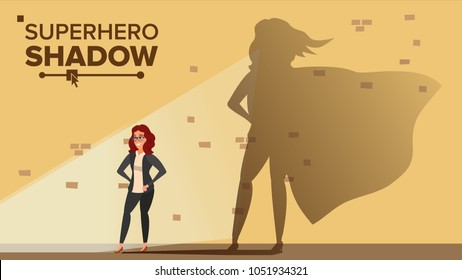 Businesswoman Superhero Shadow Vector. Emancipation, Ambition, Success. Leadership Career Concept. Creative Modern Business Superhero. Women Power. Flat Cartoon Illustration