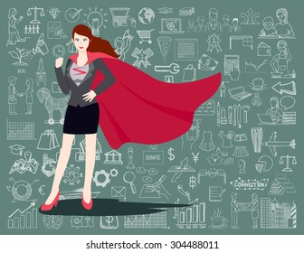 Businesswoman is a Superhero. Super businesswoman proudly standing in front of chalkboard with business doodles background.