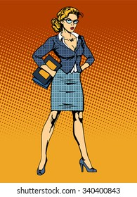 businesswoman superhero woman vamp pop art retro style. A woman's beauty at work