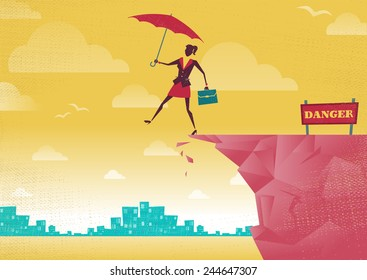 Businesswoman takes a leap of faith on Clifftop. Great illustration of Retro styled Businesswoman walking off the cliffs or maybe its a leap of faith.