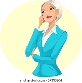 Businesswoman talking by telephone