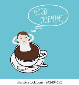 Businesswoman thinking good morning on a cup - Vector