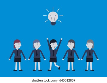 businesswoman thinks of ideas among others. business winner concept