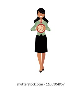 Businesswoman and time management, deadline concept. Female character in corporate suit, manager office worker holding watches in hands. Vector cartoon illustration