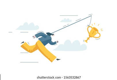 Businesswoman tries to catch reward. Woman feels burnout at work. Worker is chasing victory. People want unattainable dream. Girl is running fast. Concept vector illustration EPS 10 isolated on white