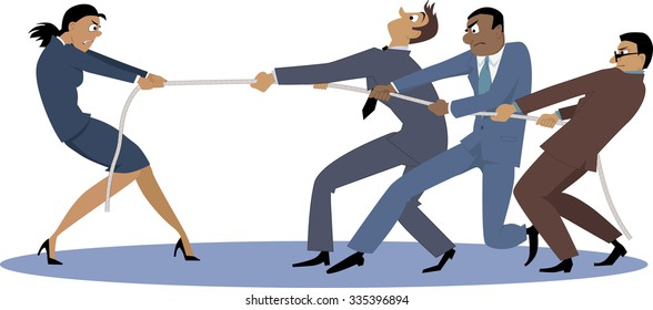 A businesswoman in tug of war with a group of male coworkers, EPS 8 vector illustration