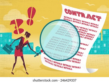 Businesswoman uses magnifying glass to check contract. Businesswoman is very careful to check the fine print of a business contract with her huge magnifying glass.