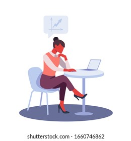 Businesswoman using laptop at office desk. Colorful flat design vector illustration. Woman sitting at table and working on notebook computer