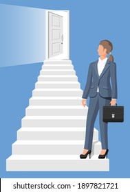 Businesswoman walk up stairs to the door. Business woman and staircase with door. New opportunities and business growth concept. Career ladder. Step by step career building. Flat vector illustration
