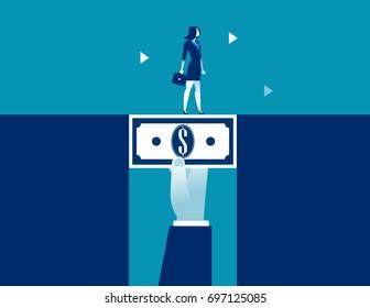 Businesswoman walking across dollar money bridging the gap. Concept business vector illustration.