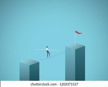 Businesswoman walking across gap on a tightrope vector concept. Symbol of business risk, courage, adventure, success and ambition, motivation. Eps10 vector illustration.