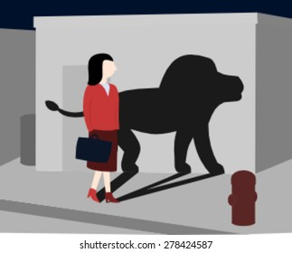 Businesswoman walking at night and has a lion shadow