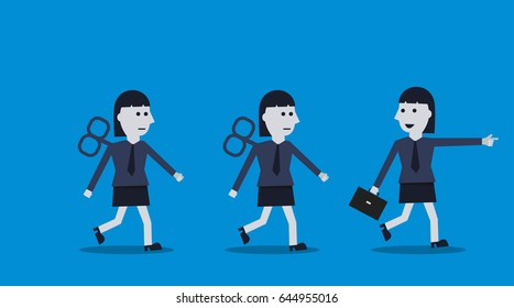 businesswoman walks ahead of the other. business leader concept