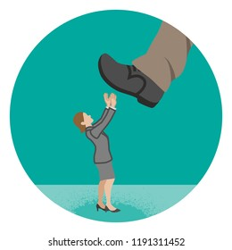 Businesswoman who is nearly trampled by the huge foot - Power harassment concept art