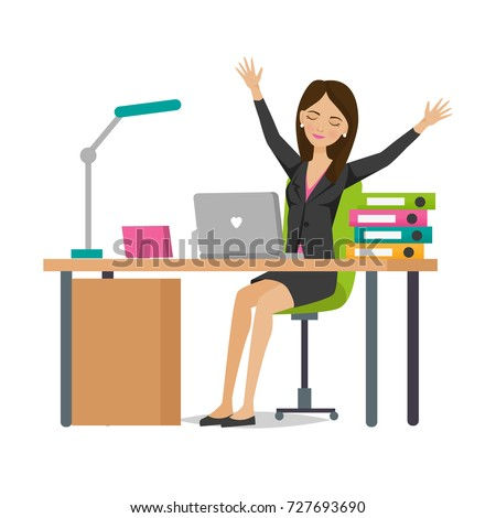 Businesswoman Working Cartoon Character Person Office Stock Vector