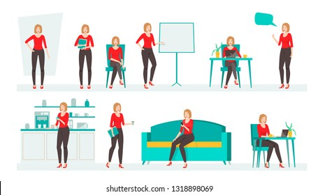 Businesswoman working character design set. .Business girl character creation set with various views, poses and gestures. Cartoon style, flat vector isolated