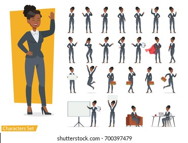 Businesswoman working character design set. Vector design.