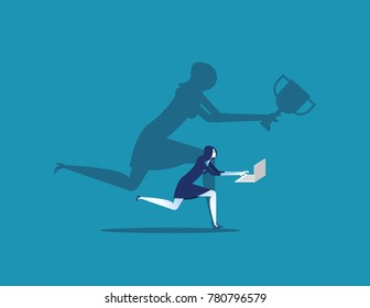 Businesswoman working. Concept business vector illustration. Flat design style.