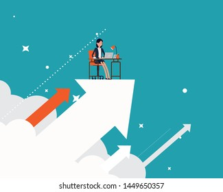 Businesswoman working on the arrow and upwards. Vector illustration business growth and success concept, Achievement, Happy flat cartoon style design