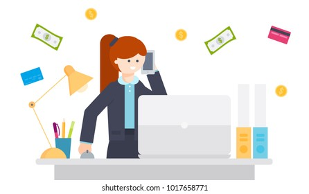 Businesswoman is working at the table, in hands is holding the phone. Background of falling money, cards, coins, dollar