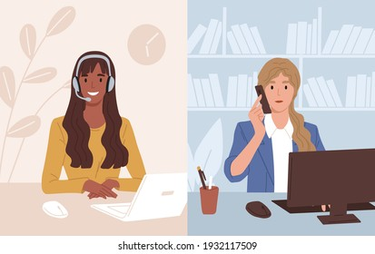 Businesswoman at workplace talking to assistant of call center. Operator of customer support service consulting client online. Colored flat vector illustration of online helpline or hotline
